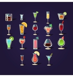 Cocktail stickers collection vector