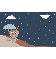 A cat walking in the rain - vector