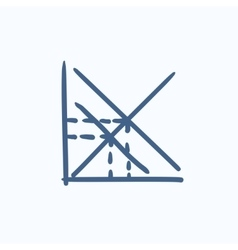 Mathematical graph sketch icon vector