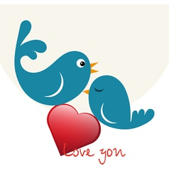 Beautiful birdie in love vector