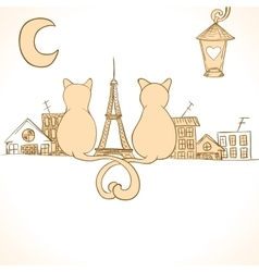 Sitting cats bright invitation vector