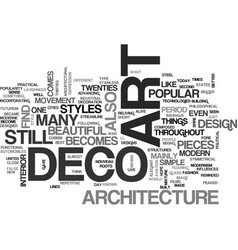 art deco and architecture text word cloud concept vector image