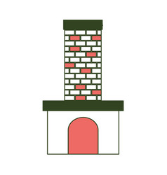 brick fireplace on color section silhouette vector image vector image