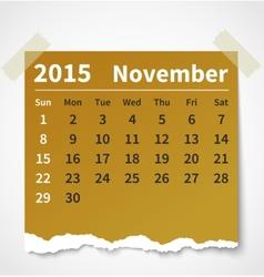 Calendar november 2015 colorful torn paper vector