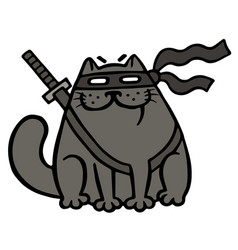 Cartoon fat ninja cat in a mask and a sword vector