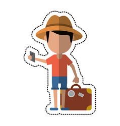 cartoon traveler man with suitcase passport vector image