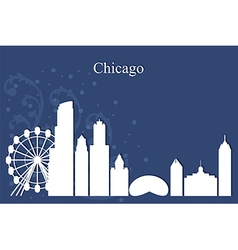 Chicago city skyline on blue background vector image vector image