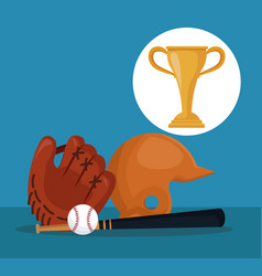 Color background with elements baseball sport with vector