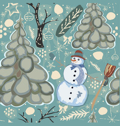 colorful seamless winter pattern with cute vector image vector image