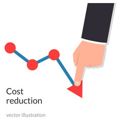 Cost reduction concept cost down businessman vector