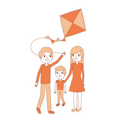 dad mom and son with kite play vector image