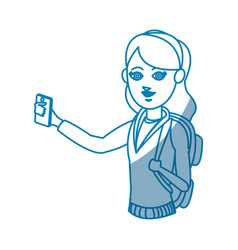 Drawing young girl holding smartphone device vector