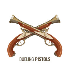 Dueling pistols with luxurious vintage design of vector