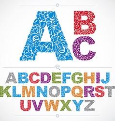 Floral alphabet sans serif letters drawn using vector image