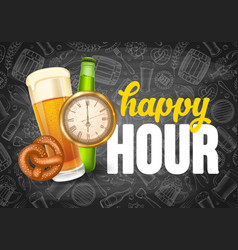 Happy hour poster template vector
