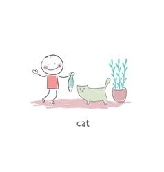 Man feeds cat fish vector image vector image