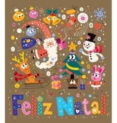 Merry Christmas Feliz Natal - portugues - vector image
