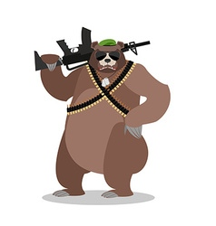 Military bear with rifle grizzlies with gun wild vector