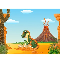 Mother tyrannosaurus and baby dinosaurs hatching vector
