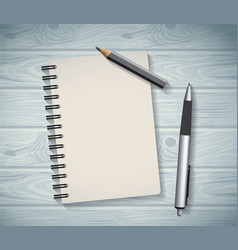 Notepad objects wood background flat design pen vector image