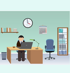 office room interior with employee vector image