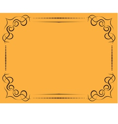 Ornate frame on a yellow background vector
