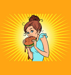 Overeating fast food woman secretly eating a vector