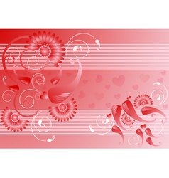 Red satin background with the decor vector image