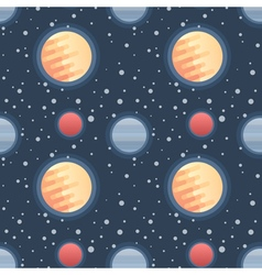 Seamless flat space pattern with planets and stars vector