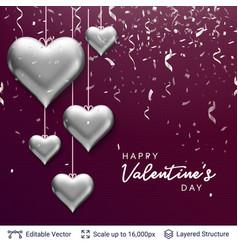 Silver 3d hearts air balloons and invitating text vector