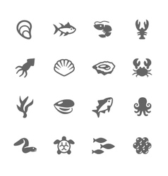 Simple Sea Food Icons vector image