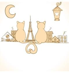 Sitting cats bright invitation vector
