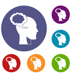 Speech bubble with human head icons set vector