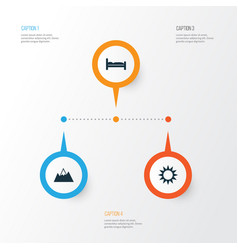 Traveling icons set collection of mount sunny vector