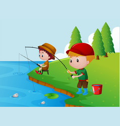 two boys fishing by the river vector image