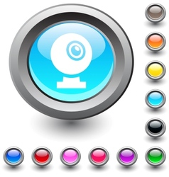 Webcam round button vector image