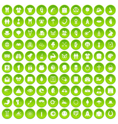 100 spring holidays icons set green circle vector