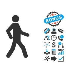 Walking Man Flat Icon with Bonus vector image