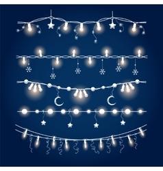 Illuminated christmas garland set vector image