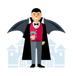 dracula halloween flat style colorful vector image
