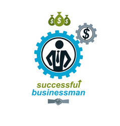 Successful businessman creative logo conceptual vector
