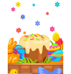 Easter festive flat concept with sweets vector