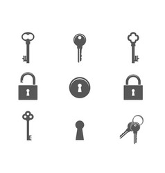 Keys and padlocks icon set vector