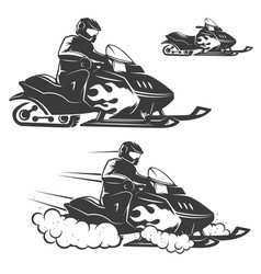 Set of snowmobile with driver isolated on white vector