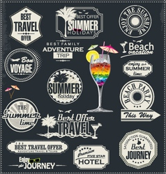 Retro style travel and vacation labels vector image
