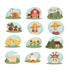 Farm household or farmer agriculture and cattle vector