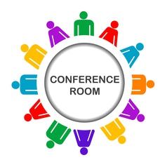 Colorful conference room icon vector image