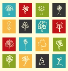Collection of flat outlined tree icons vector