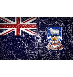 Flags falkland islands with broken glass texture vector