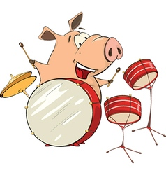 A pig musician cartoon vector